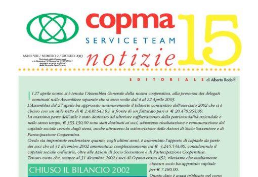Giugno 2003 – Chiuso il bilancio 2002