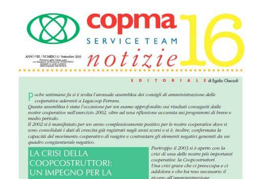 Settembre 2003 – La crisi della Coopcostruttori: un impegno per la cooperazione ferrarese