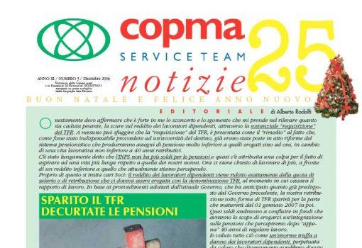 Dicembre 2006 – Sparito il TFR decurtate le pensioni